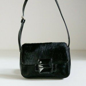 Black Patent Leather and Pony Hair Skin Little Bag